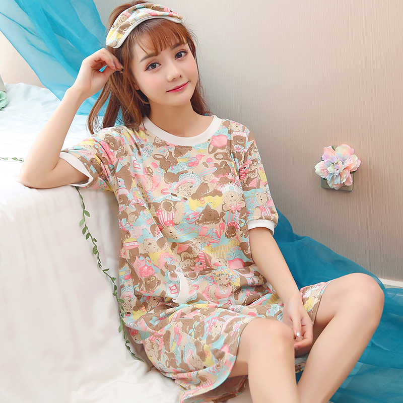 夏季韩版睡衣睡裙女棉质短袖家居服女条纹裙子可外