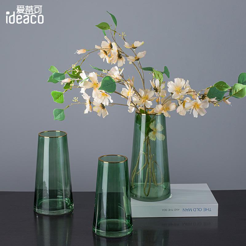 北欧轻奢描金透明玻璃花瓶摆件