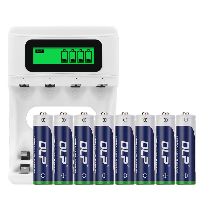 德力普充电电池5号套装大容量AA五号3300毫安液晶USB充电器玩具话筒相机电池支持可任选7号