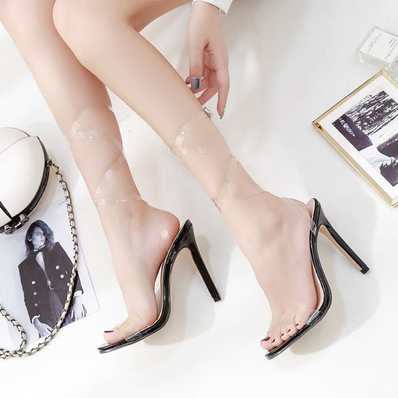 category/Shoes/Women Sandals Simple Wind Summer New Transparent PVC Cross S...