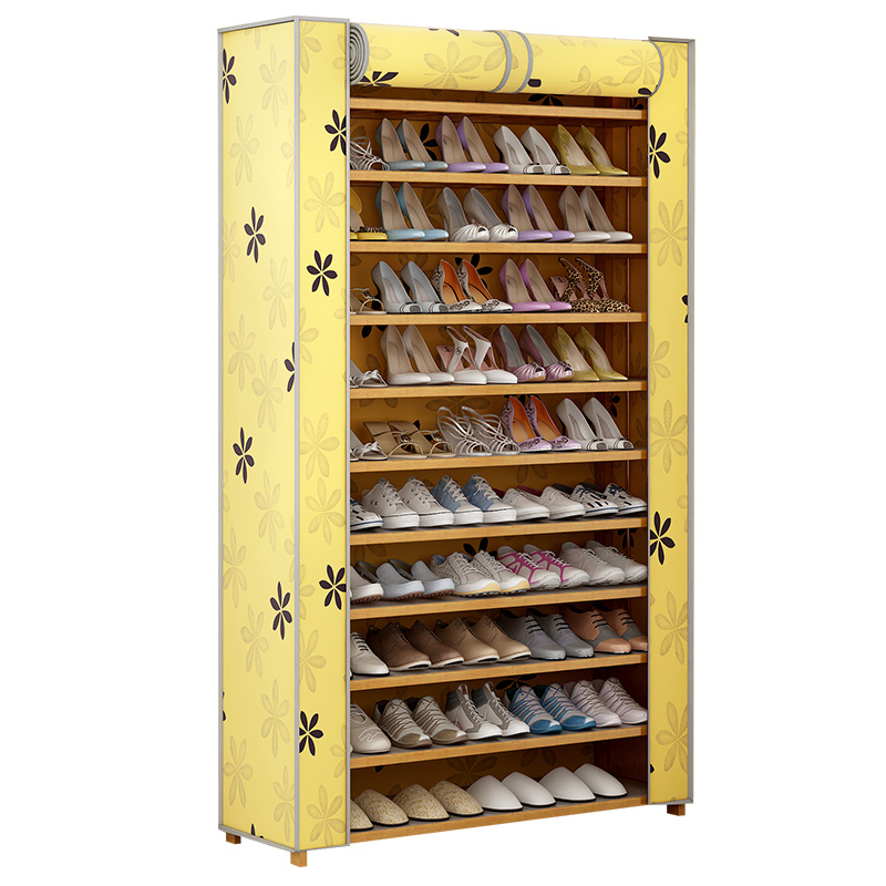 Shoe rack simple multi-layer dust-proof fabric shoe rack modern simple household economy bamboo shoe cabinet hall cabinet solid wood