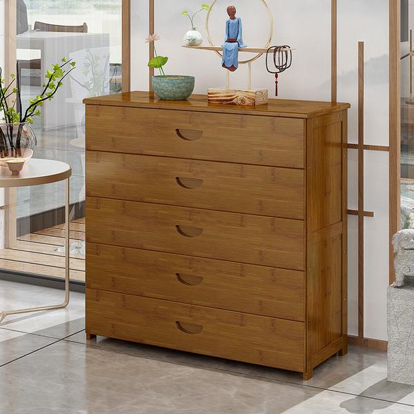 五斗柜实木床头柜简约现代卧室床头收纳储物柜多功能楠竹抽屉柜子
