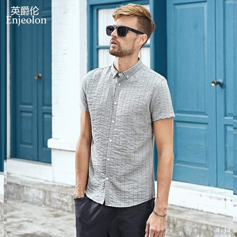 英爵伦 夏季男装原宿复古条纹印花上衣 褶皱衬衣设计时尚短袖衬衫