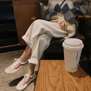 白色宽松牛仔裤女2019秋冬新款高腰复古直筒裤九分裤网红阔腿裤子