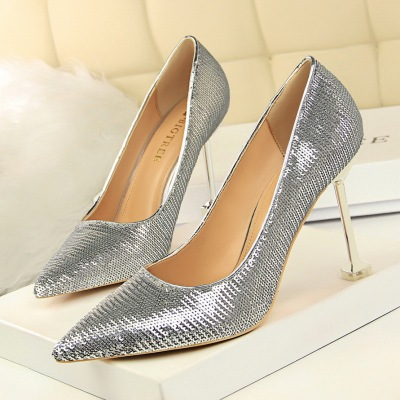 1716-21 European and American wind high heels for women's shoes high heel with shallow mouth pointed sexy nightclub show