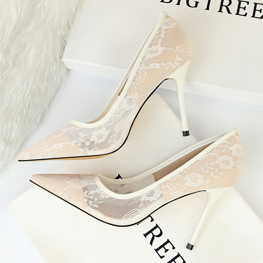 1853-1 in Europe and the sexy show thin thin high heels for women's shoes with high heels shallow pointed mouth mes