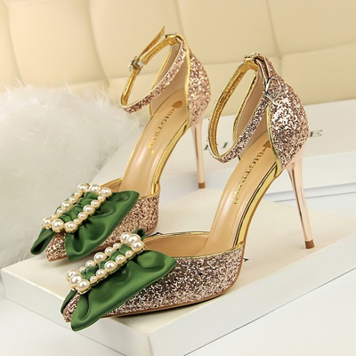 283-33 European and American wind high with hollow light mouth pointed sequins metal buckles pearl bow word and women sa