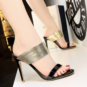 5262-5 European and American fashion wind restoring ancient ways show thin thin and sexy high-heeled peep-toe metal belt