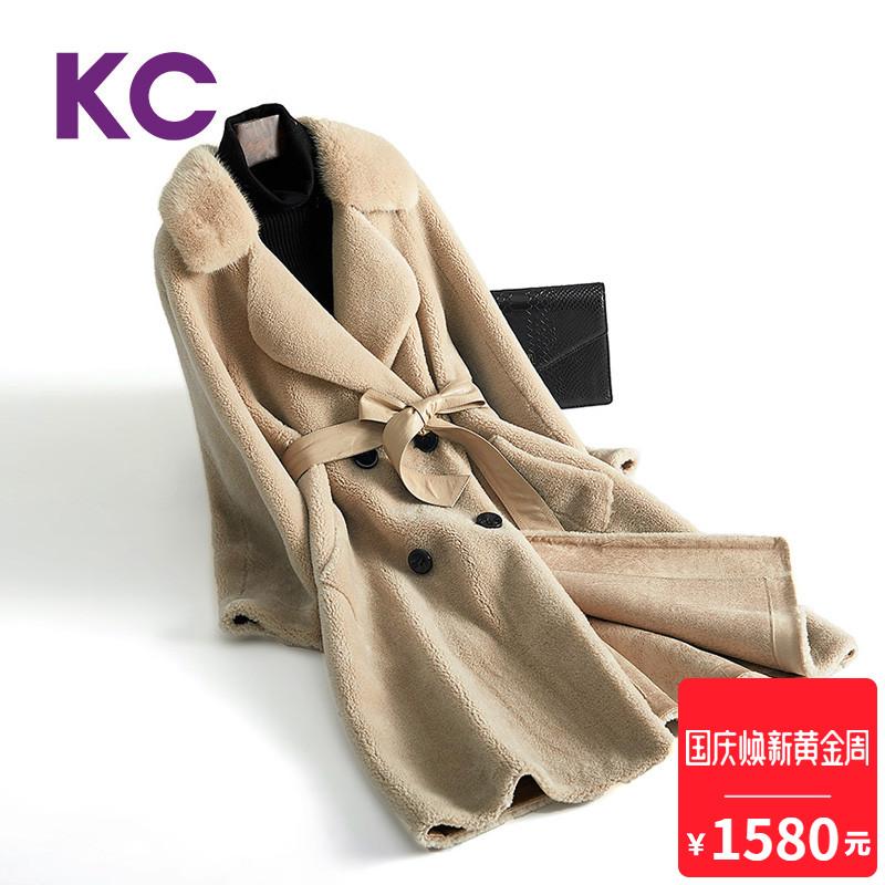 KC皮草羊剪绒大衣女新款2018冬季中长款修身水貂毛领一体羊毛大衣