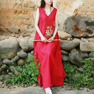 棉麻连衣裙女夏长款无袖宽松中国风女装复古文艺刺绣改良汉服长裙