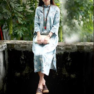 民国风女装新款文艺复古中式改良旗袍裙中长款棉麻连衣裙学生女夏