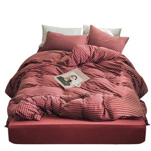 无印良品天竺棉裸睡针织全棉四件套条纹被套床笠纯棉床单床上用品