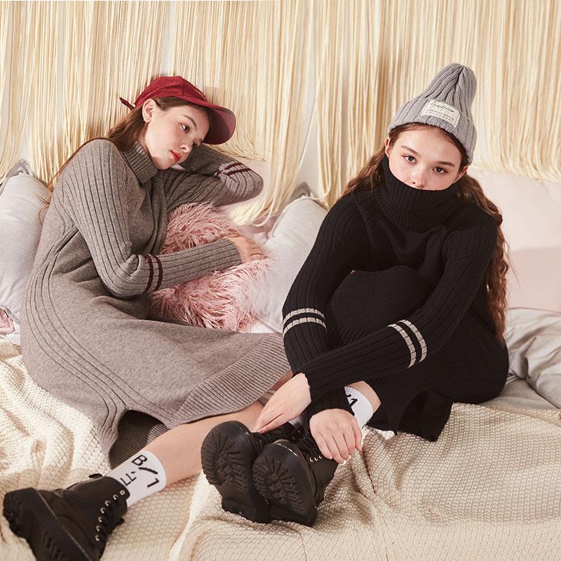 唐狮冬天高领女打底毛衣裙黑色套头韩版中长款加厚毛线衣女裙子