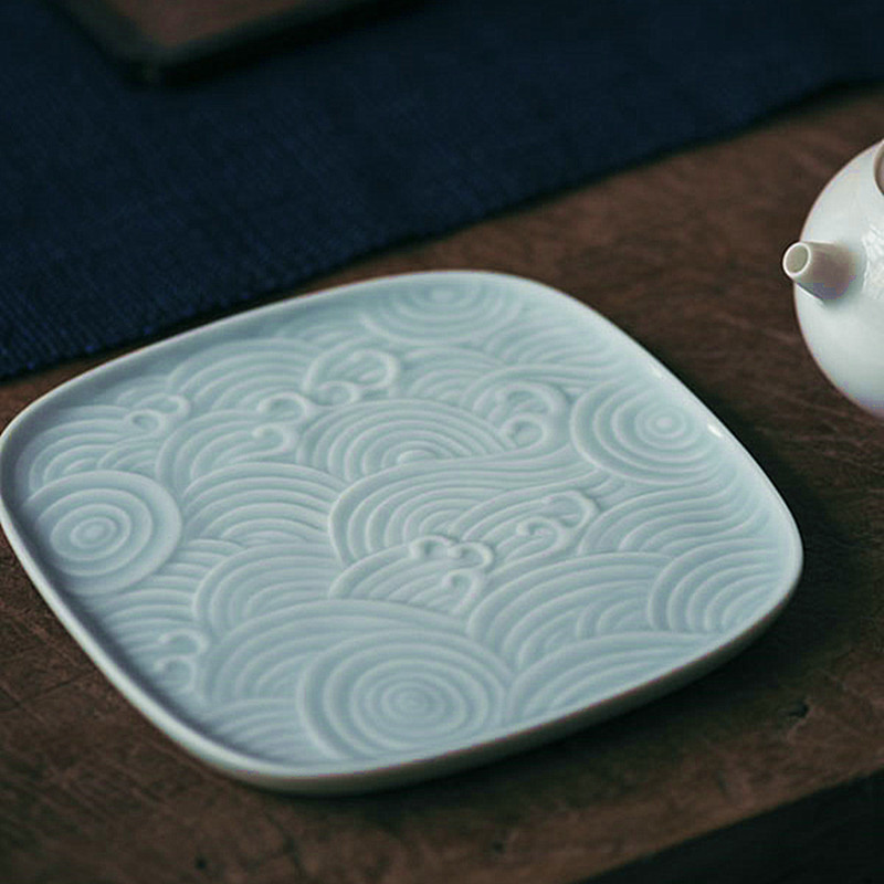 Poly real scene bas - relief waves pot bearing fruit tea tray saucer display plate jingdezhen checking ceramic plate