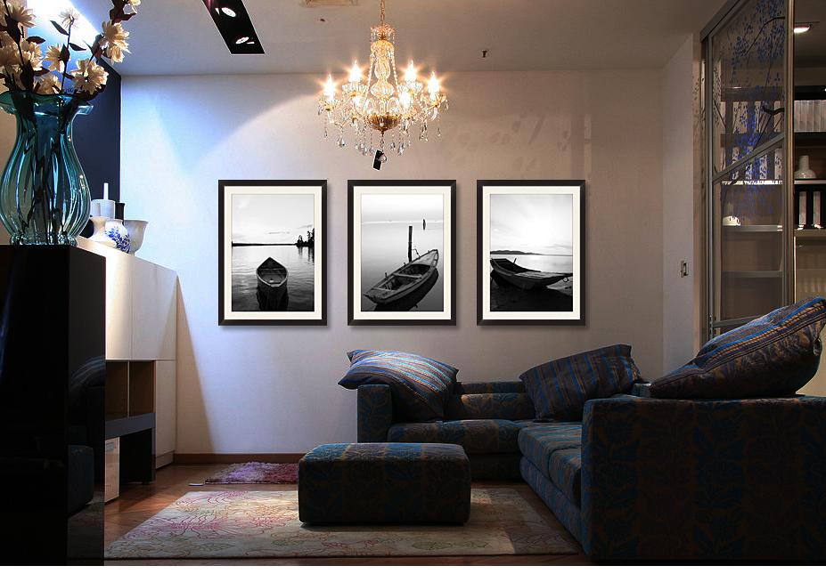 黑白风景客厅沙发背景墙装饰画黑框画有框画墙画壁画现代简约海景