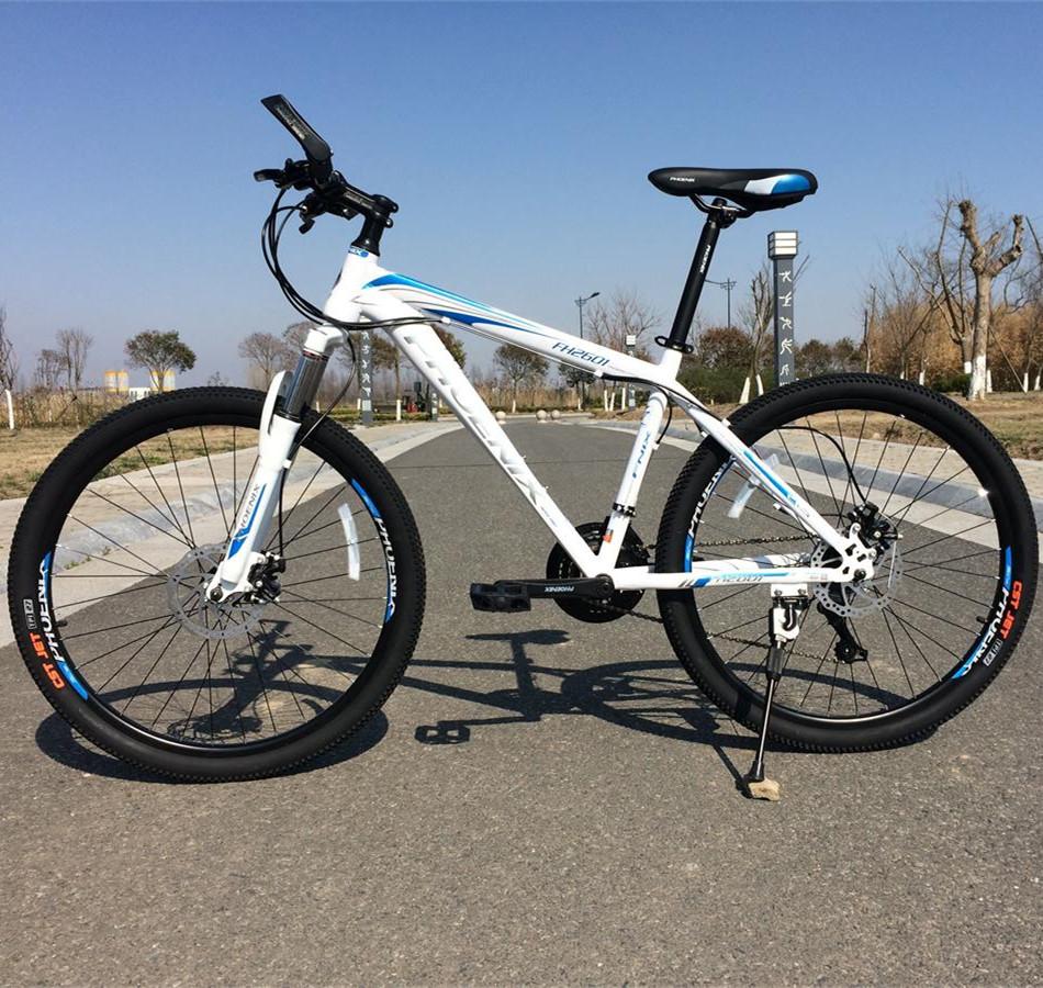 凤凰山地车自行车26寸变速山地自行车21/27速双碟刹学生男女单车