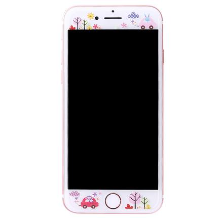 iphone8彩膜苹果7plus卡通钢化膜7前膜6s防爆玻璃膜8手机膜贴膜女