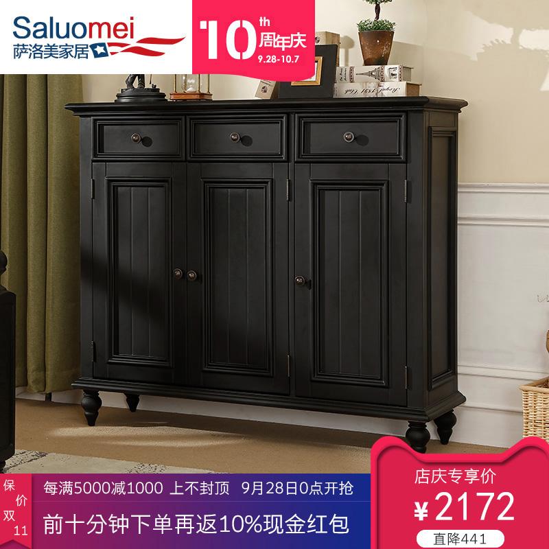 现代美式家具北欧三门鞋柜全实木黑胡桃色1.2米榫卯复古玄关客厅