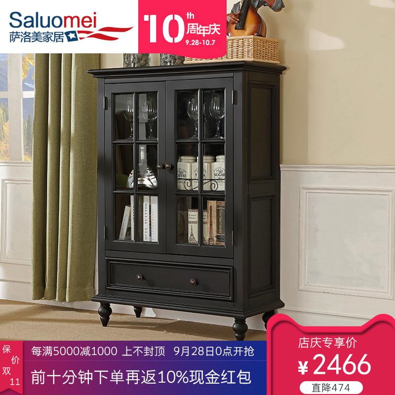 美式实木酒柜黑色简约小户型储物柜餐厅餐边柜现代客厅家具