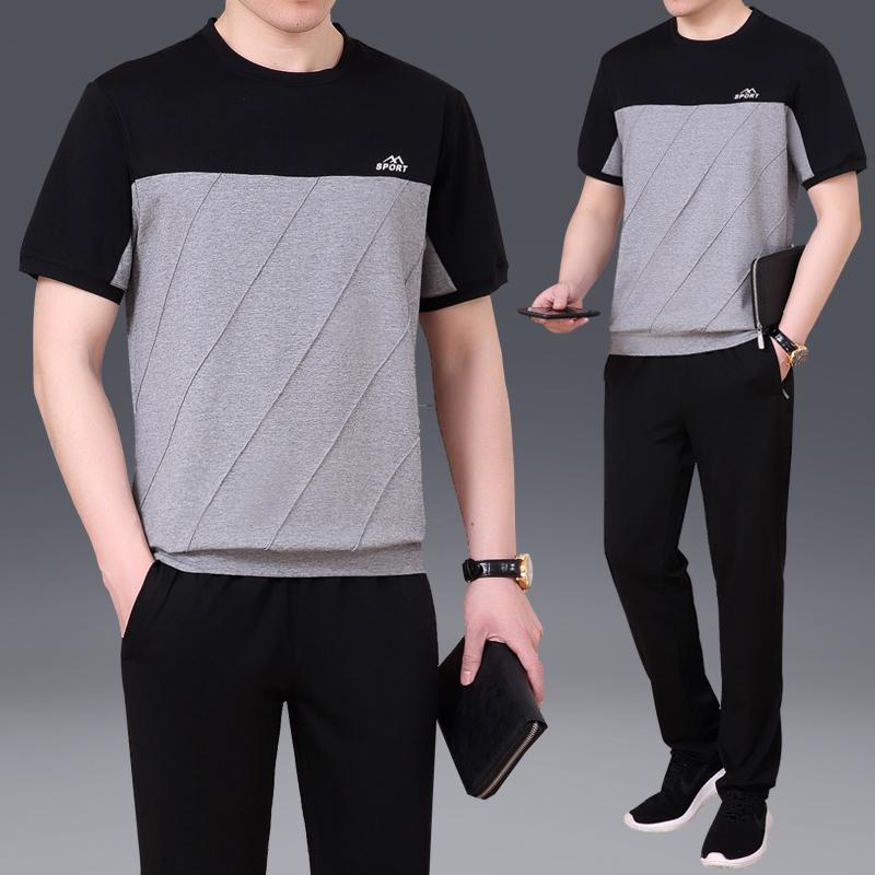 夏季休闲运动套装男2018新款短袖长裤两件套健身跑步透气运动服男