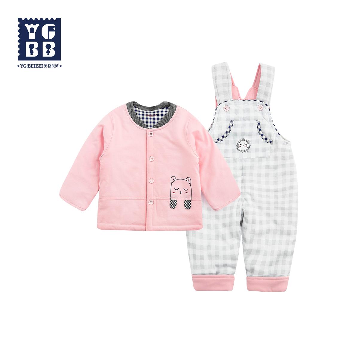 英格贝贝2018秋装新款婴儿背带裤套装0-1岁宝宝春秋薄棉衣两件套