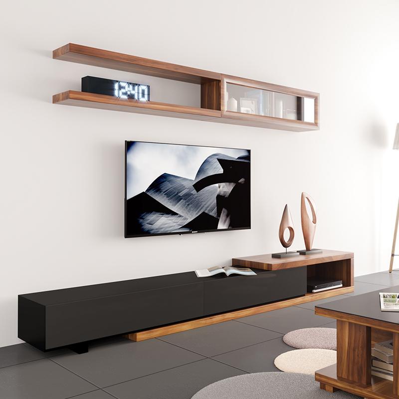 北欧可伸缩电视柜 现代简约挂柜 日式背景墙柜组合小户型客厅家具