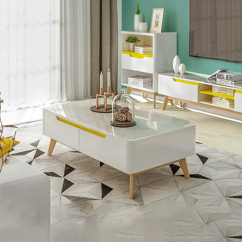 北欧茶几简约 现代客厅长方形钢化玻璃茶几 白色烤漆电视柜组合