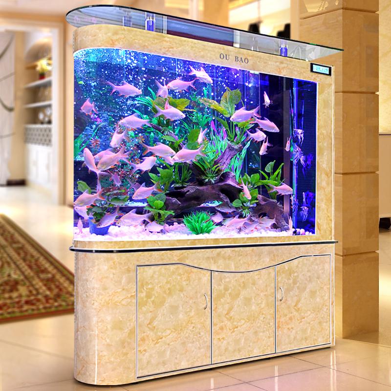 欧宝子弹头鱼缸水族箱客厅生态玻璃1.2米大中型底过滤屏风金鱼缸