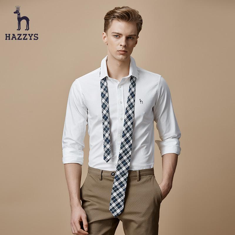 Hazzys哈吉斯男士秋冬新款长袖衬衫休闲上衣韩版纯棉修身潮流衬衣