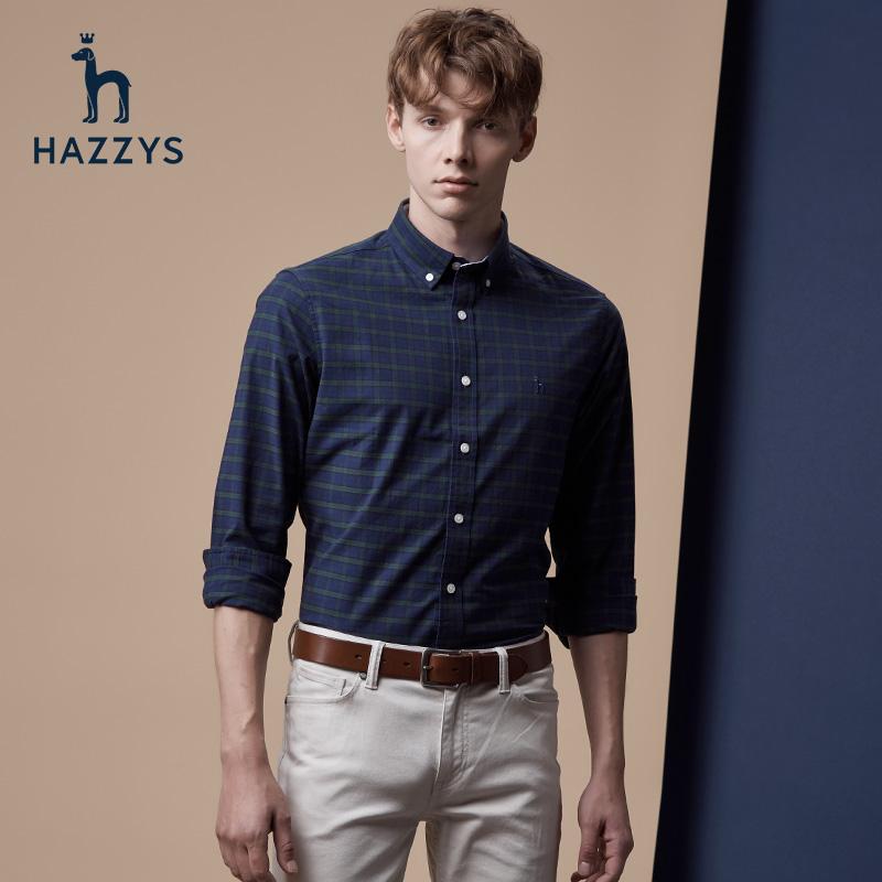 Hazzys哈吉斯秋季新款男士长袖格子衬衫修身显瘦绿色衬衣上衣潮流