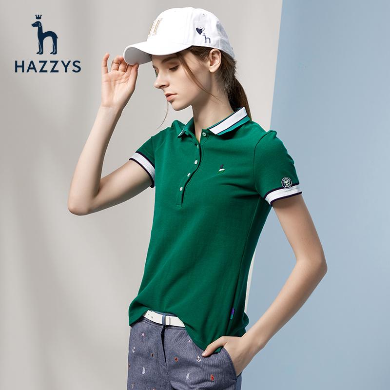 Hazzys哈吉斯温网系列修身T恤短袖女polo衫上衣潮夏季英伦风女装