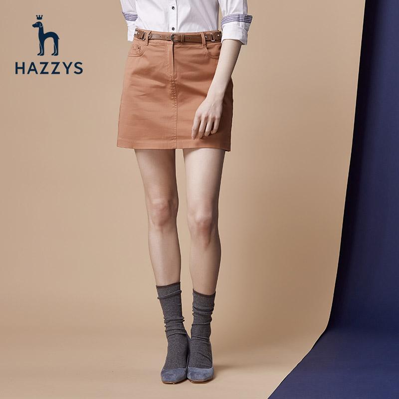 Hazzys哈吉斯女士休闲秋装棉修身短裙半身裙秋女气质2018新款潮流