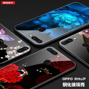 OPPO  R11S钢化玻璃手机壳R11SPlus彩绘防摔全包保护套硅胶男女款