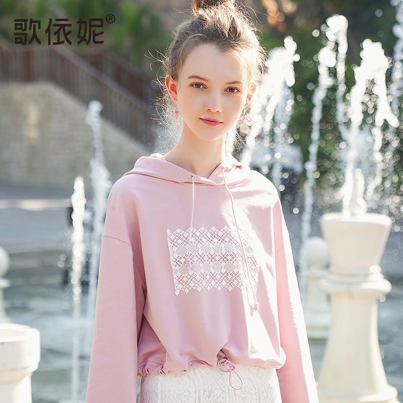 2018秋装新款女韩版短款小清新粉色学生宽松套头带帽连帽卫衣上衣