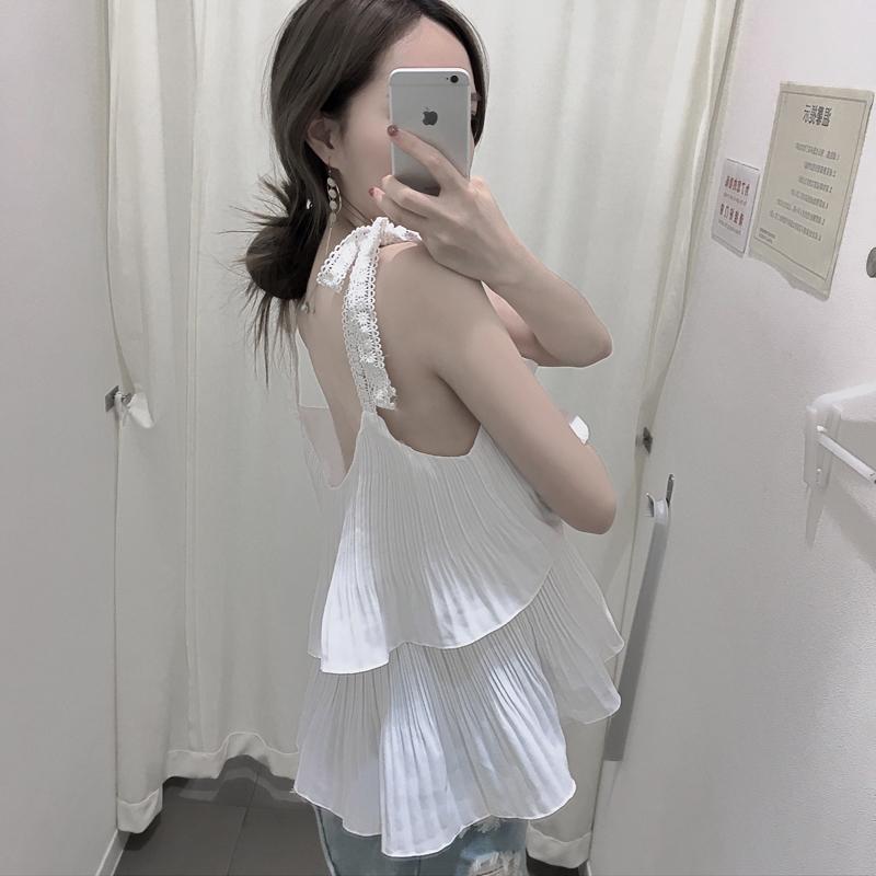 韩版复古chic风花边蕾丝拼接吊带背心女夏季皱褶荷叶边宽松娃娃衫