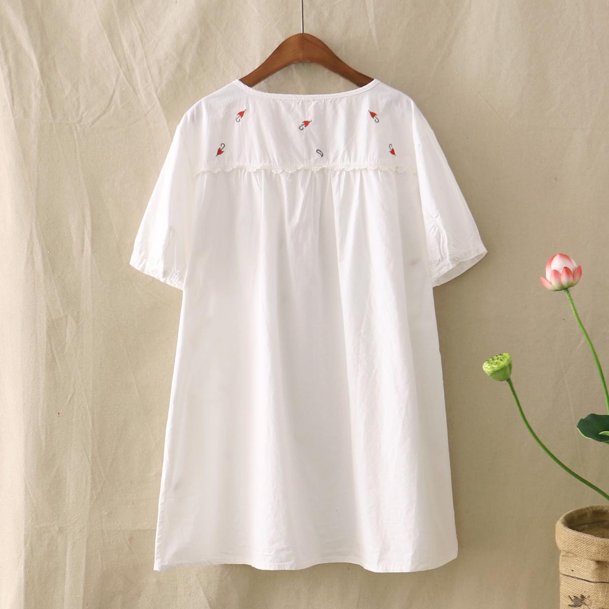 森女日系夏装レース小雨傘刺繍亜麻レジャーゆったり円襟Tシャツ,タオバオ代行-代行奈々