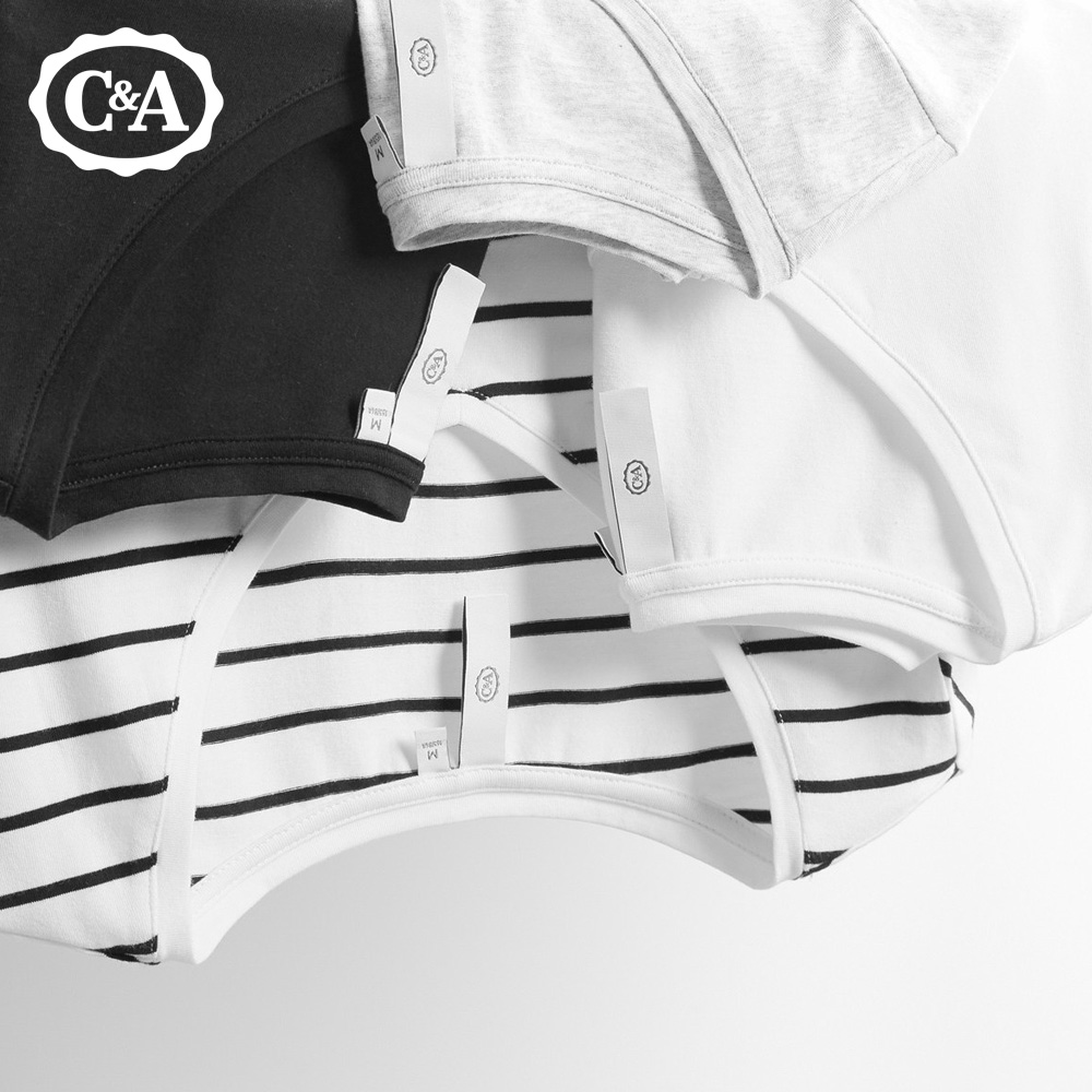 C&A基础款多色修身V领短袖T恤女 弹力纯棉简约素色上衣ECD117011