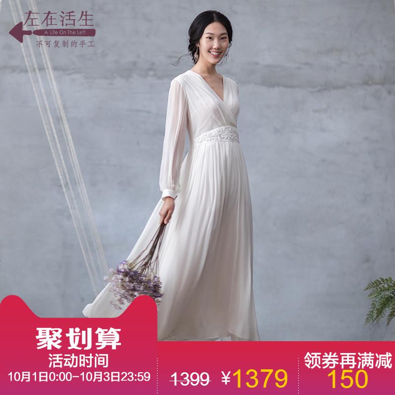 生活在左2018夏季新款绣花桑蚕丝真丝连衣裙女装修身中长款长裙子