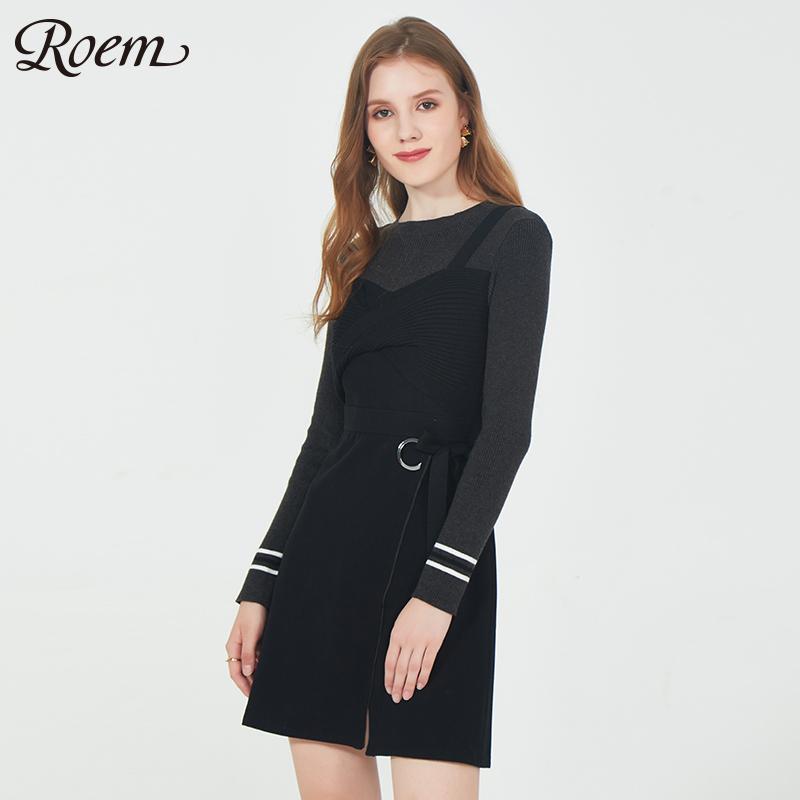 Roem洛妍春秋新款假两件背带针织不规则裙淑女连衣裙RCOW81109Q