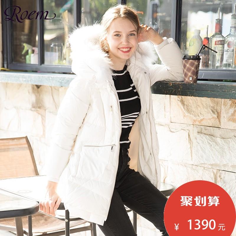 Roem冬季中长款女士白色羽绒服修身纯色加厚外套RCJD74T04M