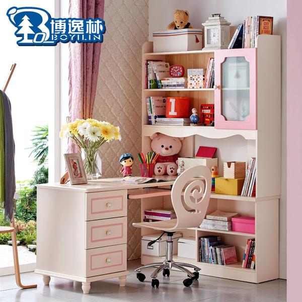 书桌书柜一体韩式公主1.4米大转角三抽书柜粉特价儿童书桌带书...
