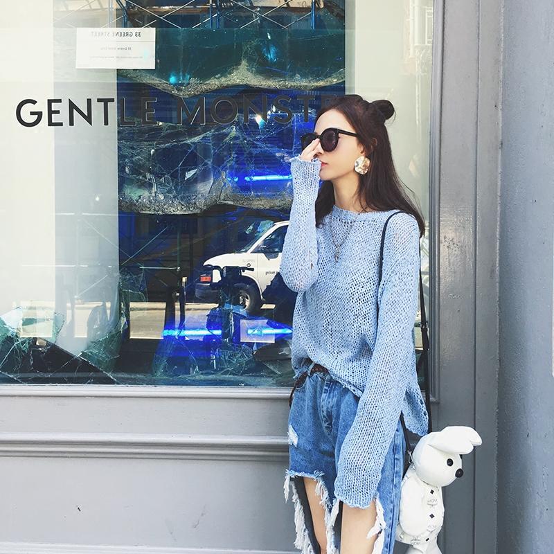 2017秋装新款圆领chic镂空破洞针织衫女套头长袖薄款宽松上衣外套