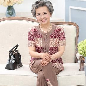 老人奶奶装夏装套装新品中老年女装