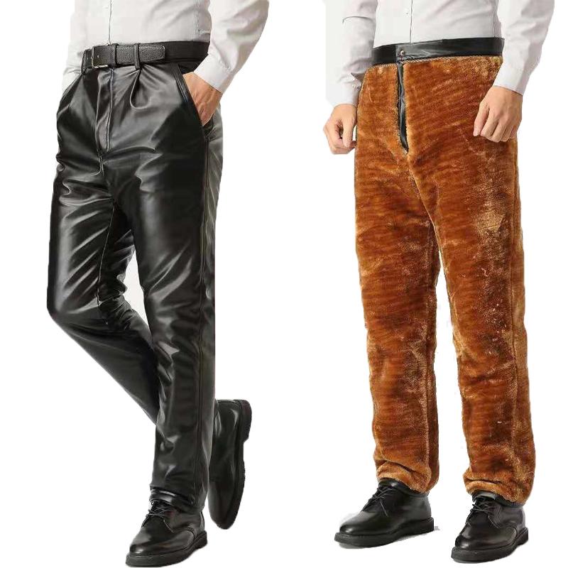 男士防风皮裤加绒加厚