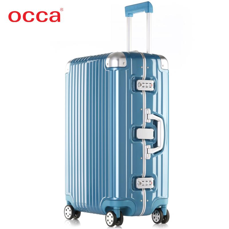 OCCA新款纯PC拉杆箱万向轮女铝合金包角旅行箱海关密码锁男行李箱