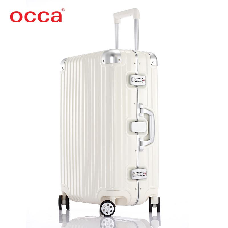 OCCA纯PC拉杆箱万向轮 女铝合金包角旅行箱金属锁行李箱男托运箱