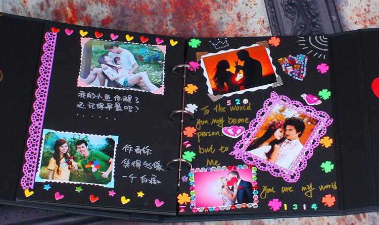 diy相册 礼盒装密码锁相册韩国情侣手工粘贴式创意礼品相册送照片图片