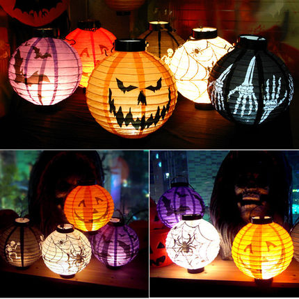 Halloween Decoration Glowing Pumpkin Light Paper Ghost Festival Children's Portable Light Bar Mall School Props