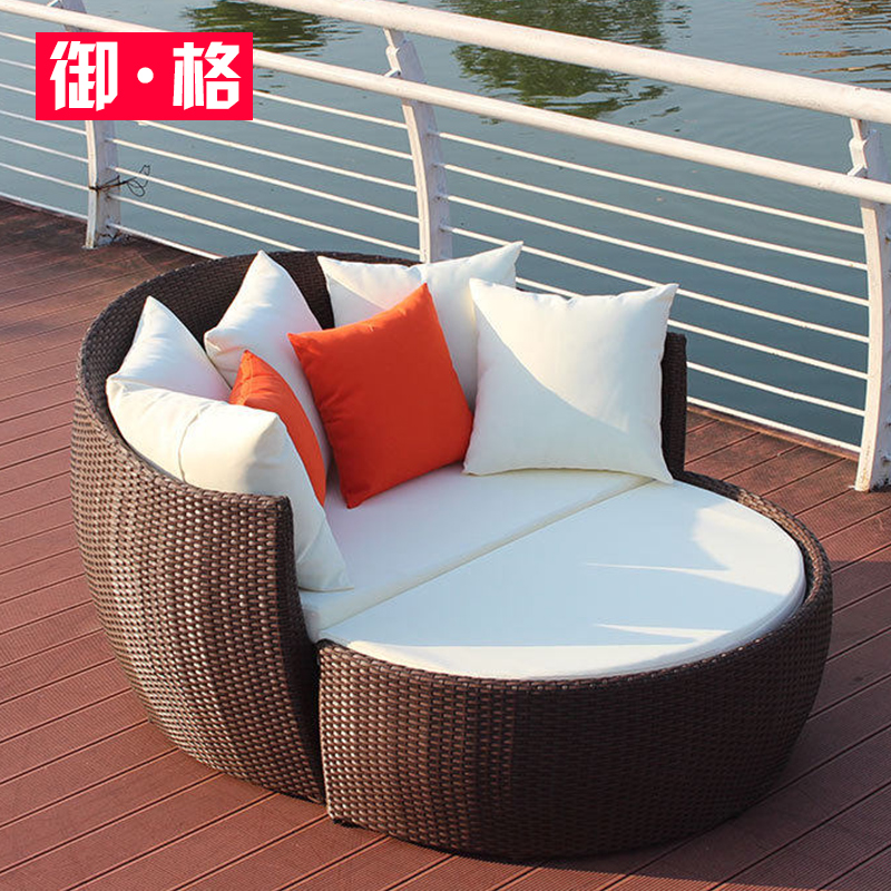 创意小户型户外圆形躺椅休闲阳台藤编沙发别墅藤椅露台组合藤躺床