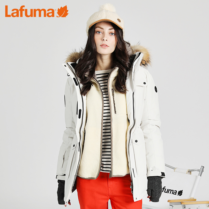 LAFUMA乐飞叶女士户外中长款防泼水加厚保暖鸭绒羽绒服LFJU7D422